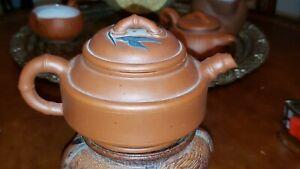 Antique Chinese 19th century Bamboo Dark Clay Zisha Yixing Teapot China