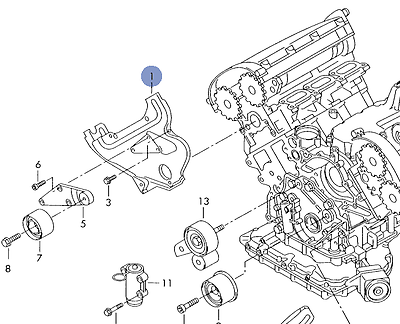 AUDI A4 A6 CABRIO 2002-06 3.0L LEFT SIDE INNER TIMING BELT
