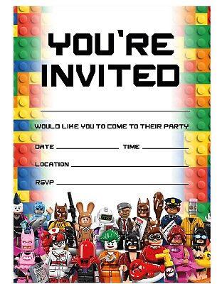 lego theme birthday party invitations lego invites children boys girls kids ebay