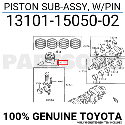 131011505002 Genuine Toyota PISTON SUB-ASSY, W/PIN 13101