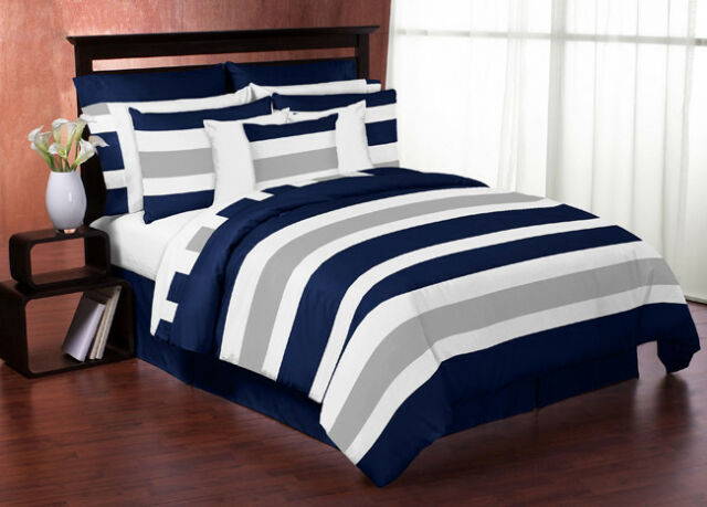 navy blue grey white stripes full queen childrens teen boy bedding comforter set