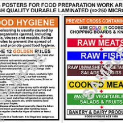 Kitchen Signs For Work Mid Century Modern Design Food Hygiene 2 A4 12 Golden Rules Prevent Cross Image Is Loading