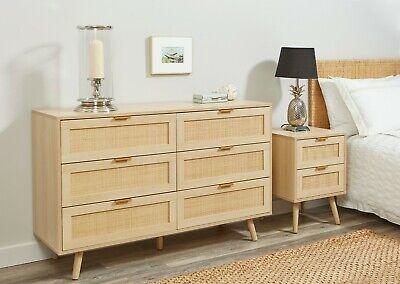 light rattan bedroom furniture wood bedside table cabinet chest of drawers ebay