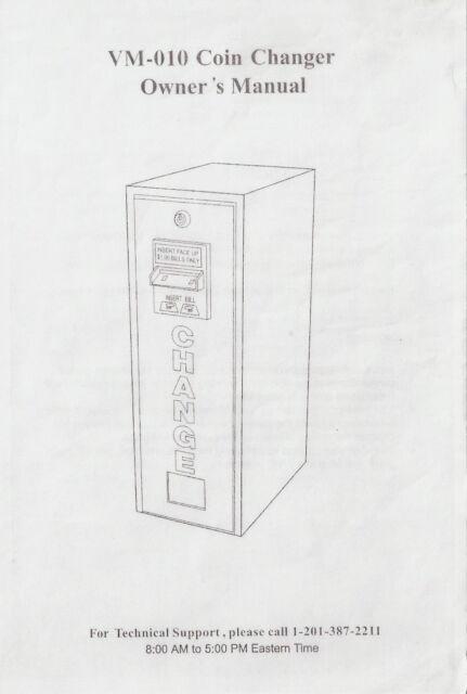 Vendcraft VM-010 Coin changer (Bill Changer) Owners Manual
