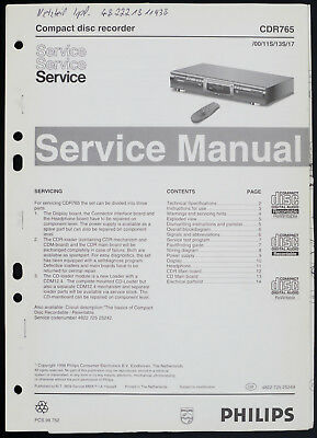 Philips CDR765 Original CD Recorder Service Manual