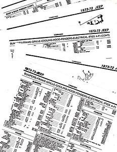 1972 1973 JEEP COMMANDO 72 73 PARTS LIST PARTS NUMBERS