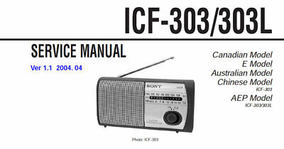 SONY ICF-303 ICF-303L SERVICE MANUAL BOOK IN ENGLISH FM AM