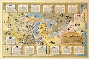 1942 pictorial map Great Lakes region Indians Native