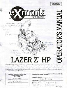 EXMARK LAZER Z HP SERIES OPERATORS/PARTS MANUALS SN