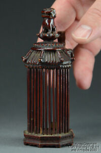 Chinese Lacquered Wood & Bamboo Cricket Cage, Foo Lion Finial, Late Qing Dyn.