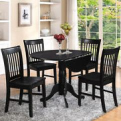 Round Black Kitchen Table Rugs Sets East West Furniture Dlno3 Blk W 3 Piece And Chairs Set 3pc Dinette Dining With 2 Wood Seat In