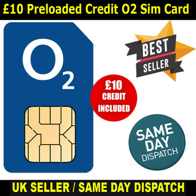 £10 Preloaded CREDIT O2 UK Network Sim Card Ready and Active to Use | eBay