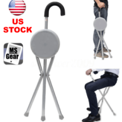 Walking Stick Chair Leather Wingback Chairs Cape Town Outdoor Travel Folding Stool Cane Portable Tripod Image Is Loading