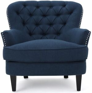accent wingback chairs chicco portable high chair reviews dark blue tufted wing club arm nailhead image is loading