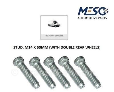 5 OF O.E. QUALITY REAR HUB STUD M14 60MM FITS FORD TRANSIT