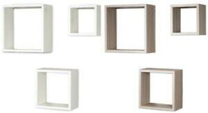 details sur 3er set cube etagere murale etagere 25cm 20cm 15cm bois decor blanc braun d