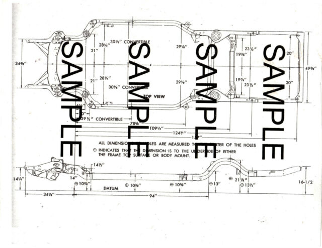 1963 FORD GALAXIE 63 FRAME GUIDE DIAGRAM CHART WITH
