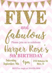 details about five and fabulous 5th birthday pink and gold birthday party invitation
