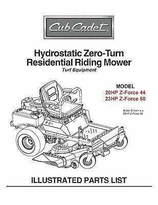 Cub Cadet Hydrostatic Zero-Turn Riding Mower Parts Manual