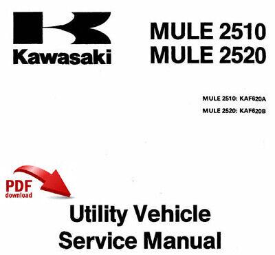 RARE KAWASAKI MULE 2510 2520 FACTORY SERVICE MANUAL
