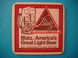 Vintage Coaster Blatz Brewing Light Beer Milwaukee