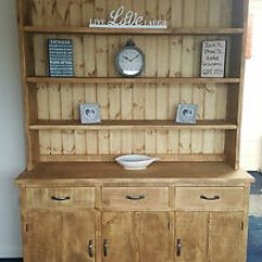 Kitchen Dresser 18 Inch Doll Furniture Solid Wood Rustic Chunky Plank Wooden Display Unit Image Is Loading