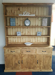 kitchen dresser cheap rooster decor for solid wood rustic chunky plank wooden display unit image is loading