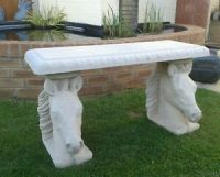 horse head bench stone / concrete /garden bench equestrian ...