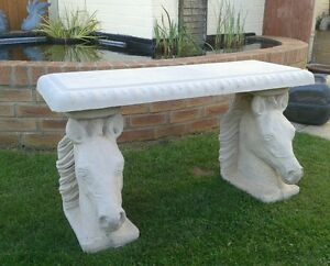 horse head bench stone concrete