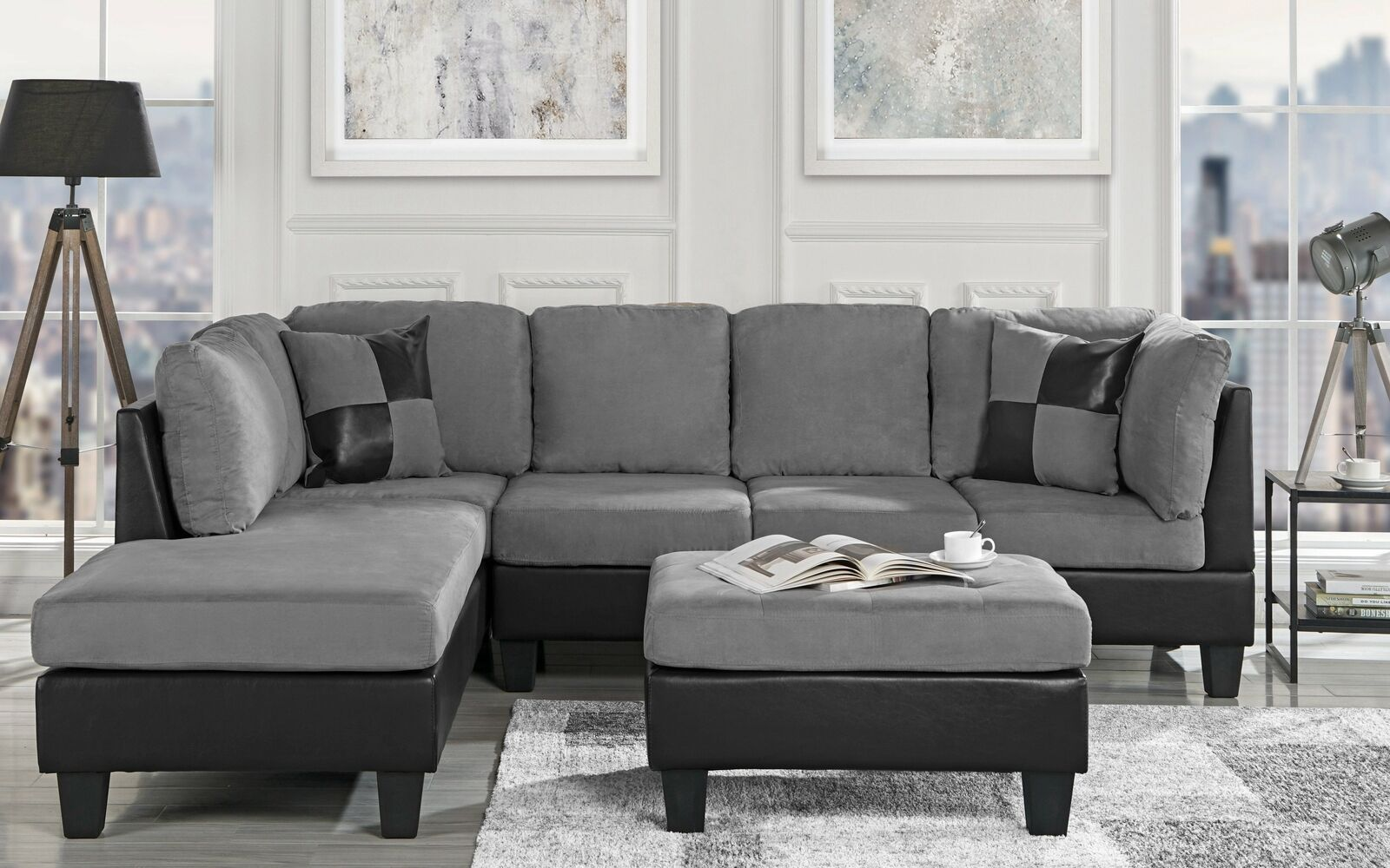 3 pc living room sofa set microfiber faux leather sectional reversible grey