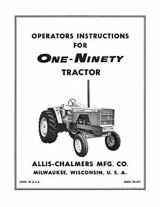 New Allis Chalmers 190 Tractor Operators Manual