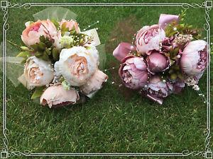 Vintage altrosa lila beige creme rosa Brautstrauss Strauss