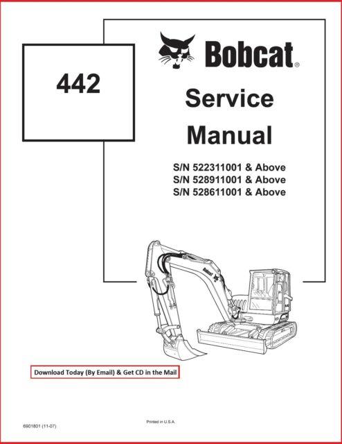 Bobcat 442 Compact Excavator Service Workshop Repair