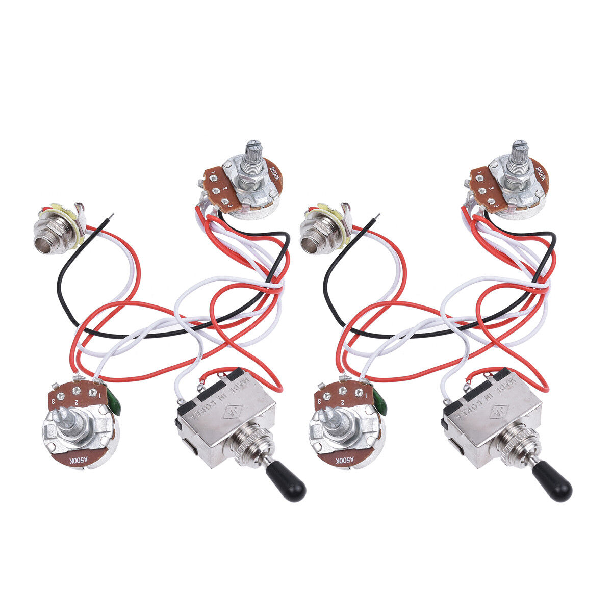 hight resolution of details about guitar wiring harness kit 3 way toggle switch 1v1t 500k pots 2 pcs