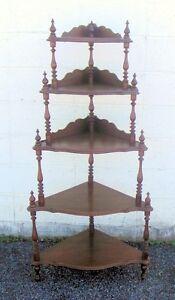 Antique Victorian Walnut Corner Display Shelf Etagere Ebay
