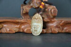 Antique Old Chinese Celadon Nephrite Jade Pendant Netsuke Toggle Buddha