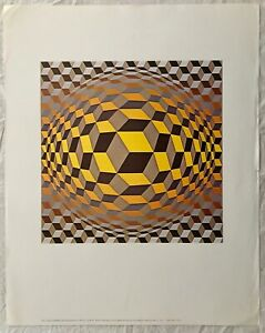 Vintage VICTOR DE VASARELY geometrische Optische Illusion
