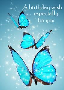 FEMALE LADIES HAPPY BIRTHDAY GREETINGS CARD BEAUTIFUL BLUE BUTTERFLIES EBay