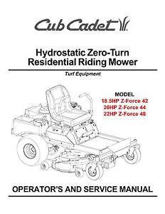 Cub Cadet Zero Turn Z-Force 42-44-48 Operator and Service