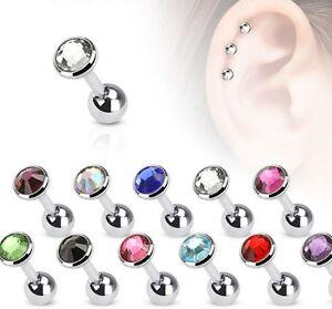 Tragus Ohr Piercing Cartilage Helix Stecker mit Kristall in 3 Größen - 11 Farben