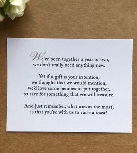 Details About Wedding Poem Card Inserts Invitations Money Cash Gift Honeymoon