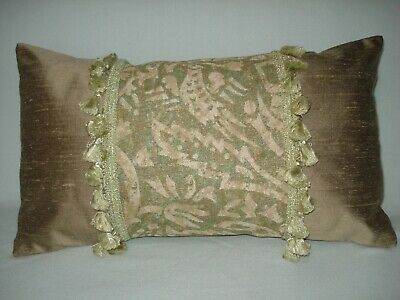 silk decorative accent throw pillow cover beige sage green w fringe 10 x18 ebay