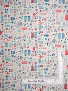 Sewing Notions Fabric : sewing, notions, fabric, Sewing, Notions, Buttons, Cotton, Fabric, Makower, Stitch