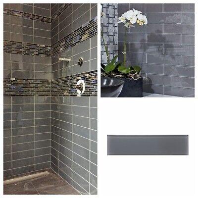 3 x 12 pebble gray glass subway tile