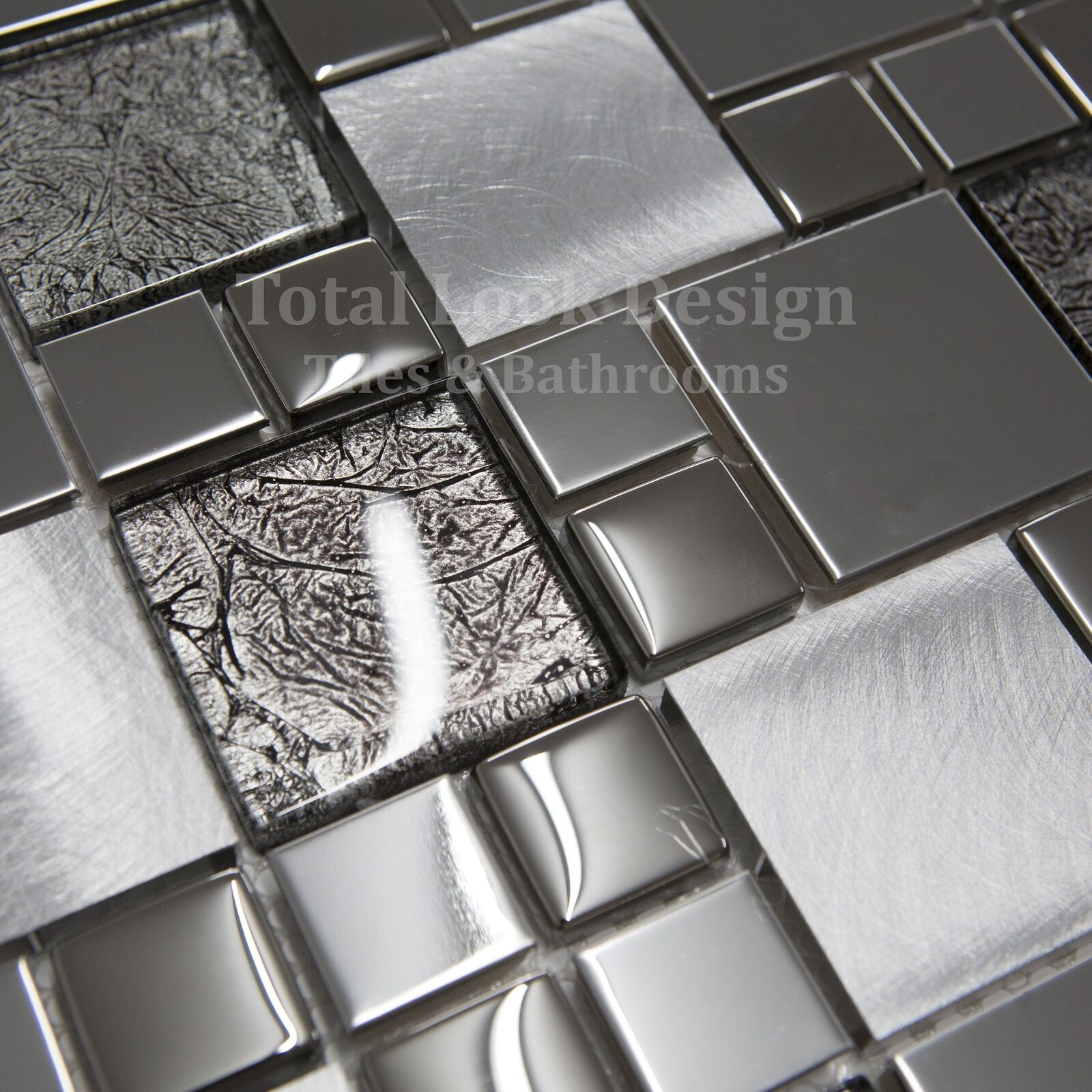 onyx black stainless steel with glass mosaic tiles sheet for wall and floor