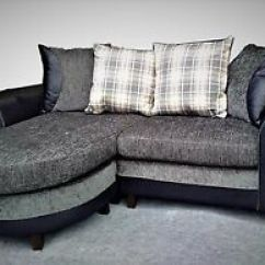 Really Small Corner Sofas Chesterfield Sofa Los Angeles New 3 Seater Grey Black Chenille Fabric Image Is Loading