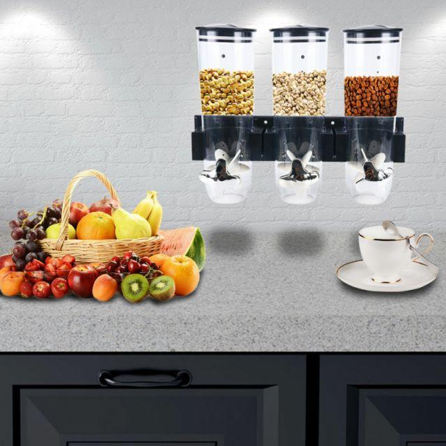 Dry Food Storage Triple Cereal Dispenser Pasta Container Machine Kitchen Storage 2