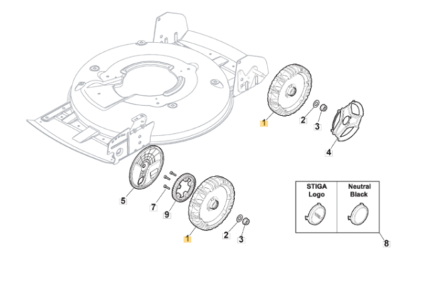 STIGA Multiclip Plus 50s Wheel Assembly Genuine Part