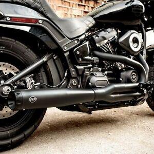 details zu s s black superstreet 2 1 exhaust system header pipes harley softail no cat 18