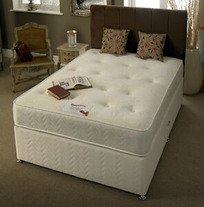 Image Is Loading White Damask Memory Bed Divan Mattress Headboard